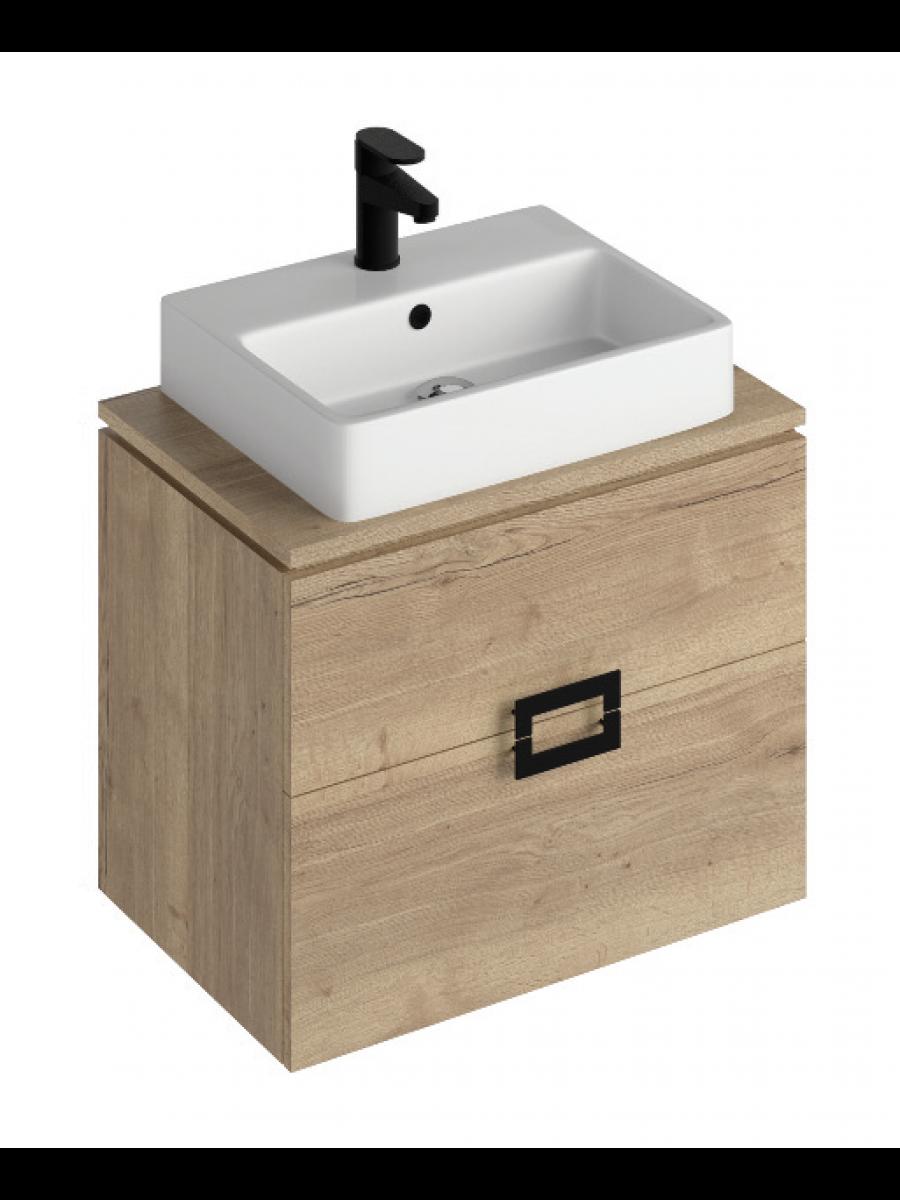 Ava Halifax Oak 65 Vanity Unit and BROOK Countertop Basin