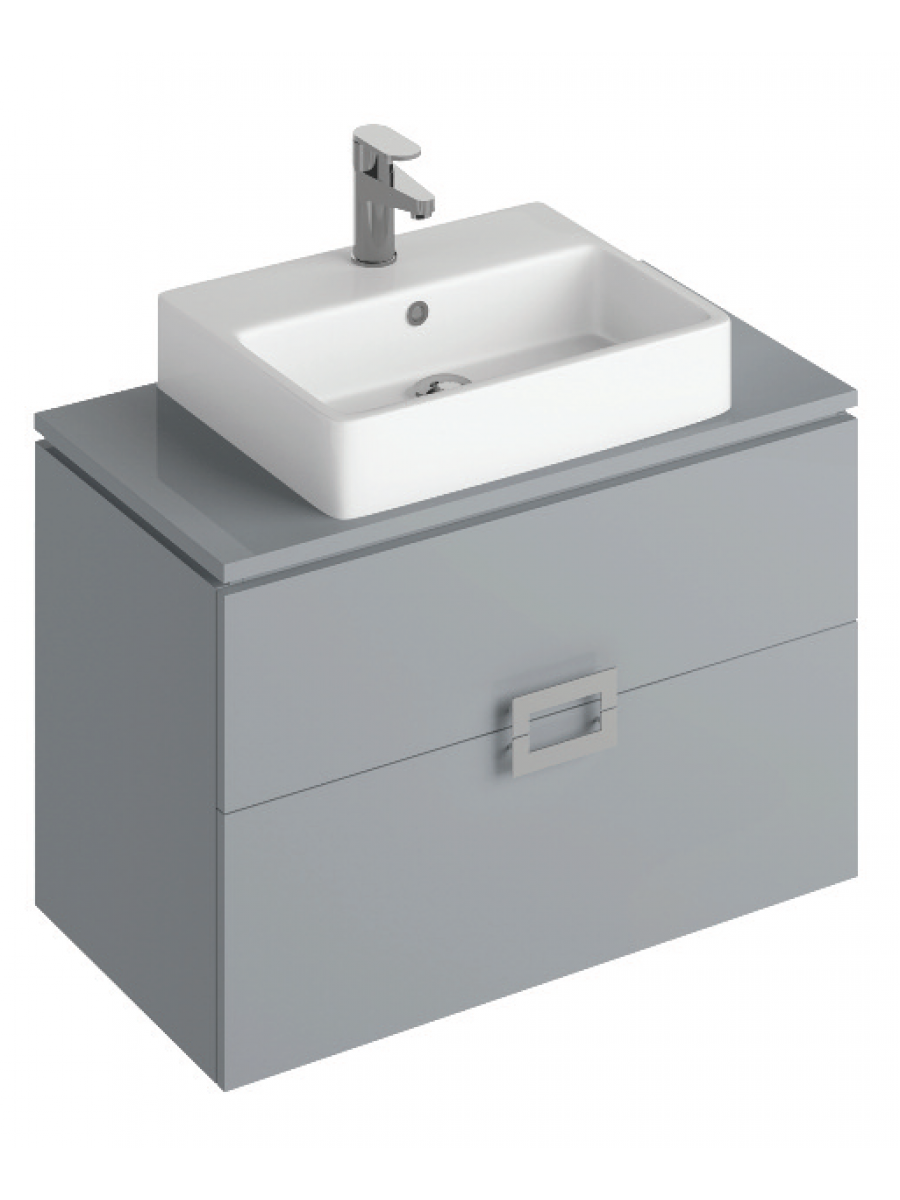 Ava Pearl Grey 80 cm Wall Hung Vanity Unit and BROOK Countertop Basin