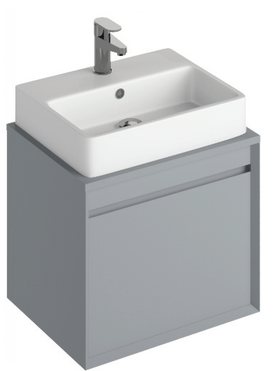 Regine 55cm Base Unit  Pearl Grey & Brook Basin
