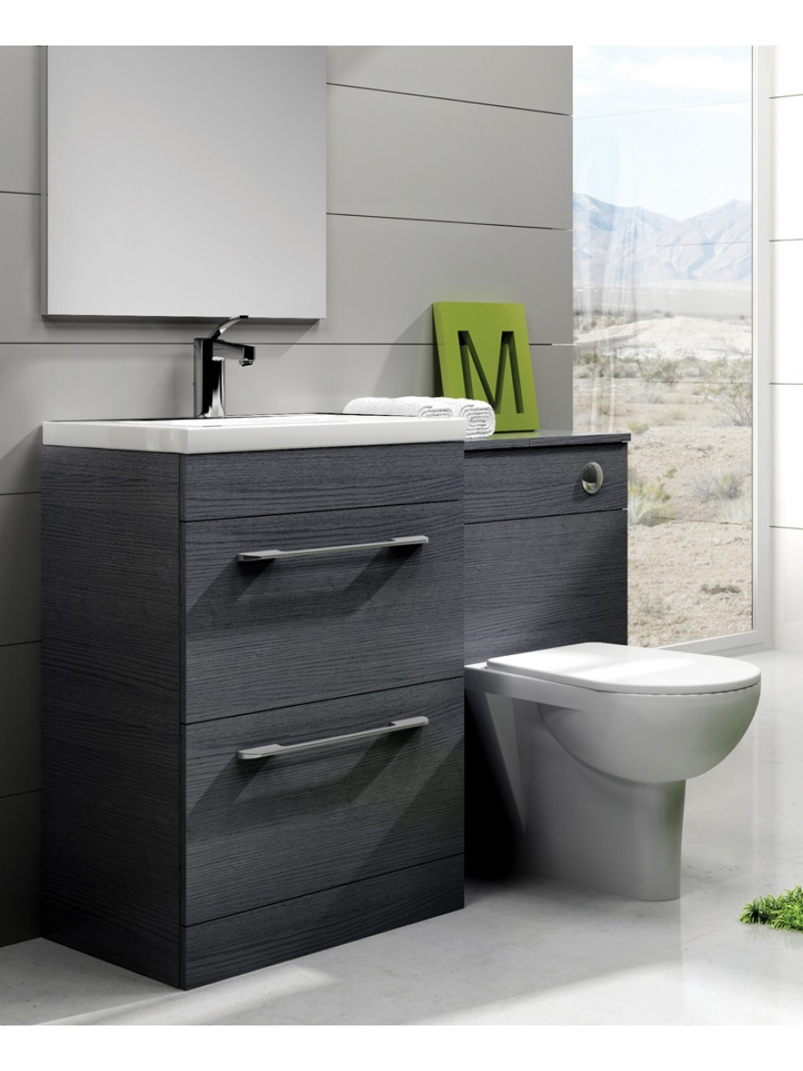 Slimline vanity units carla grey slimline 60cm combination - Bathroom combination vanity units ...