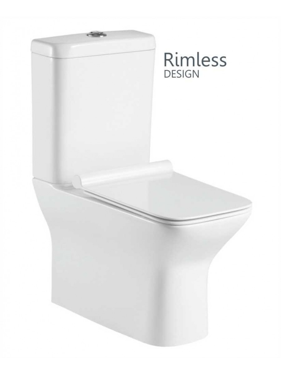 Clara Fully Shrouded Close Coupled Rimless WC with Quick Release Soft Closing SLIM Seat