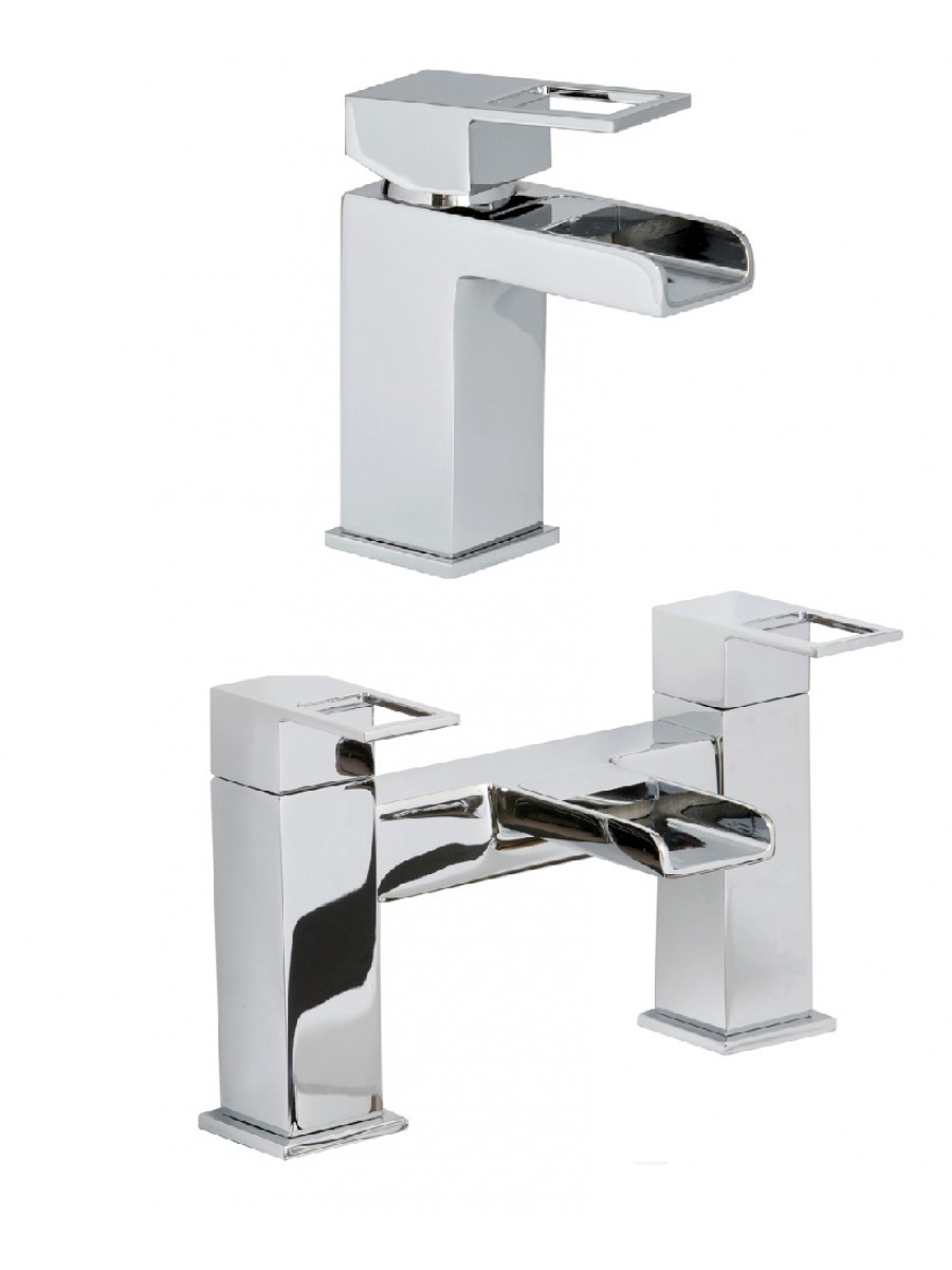 Della Basin Mixer and Bath Mixer Set with  FREE Click Clack Basin Waste