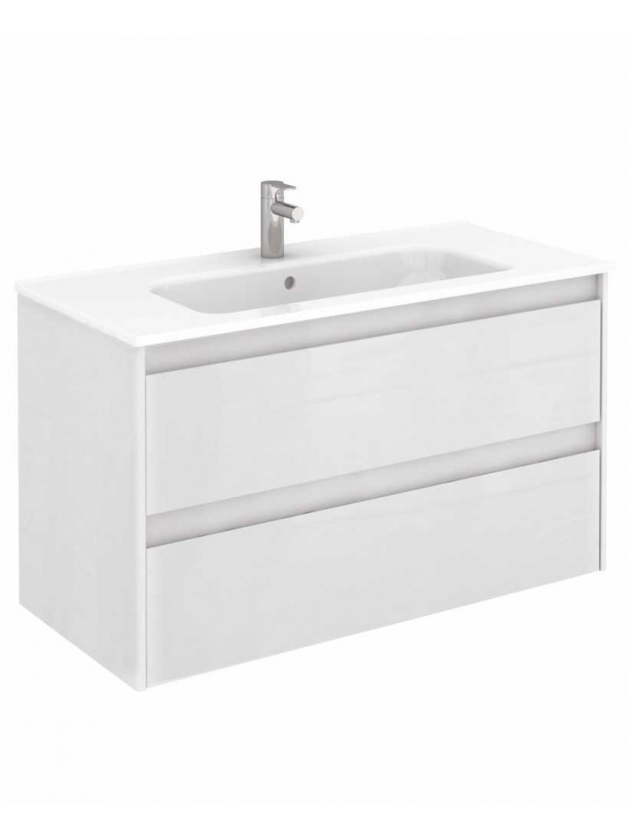 Vichy Gloss White 100 cm Wall Hung Vanity Unit and Slim Basin
