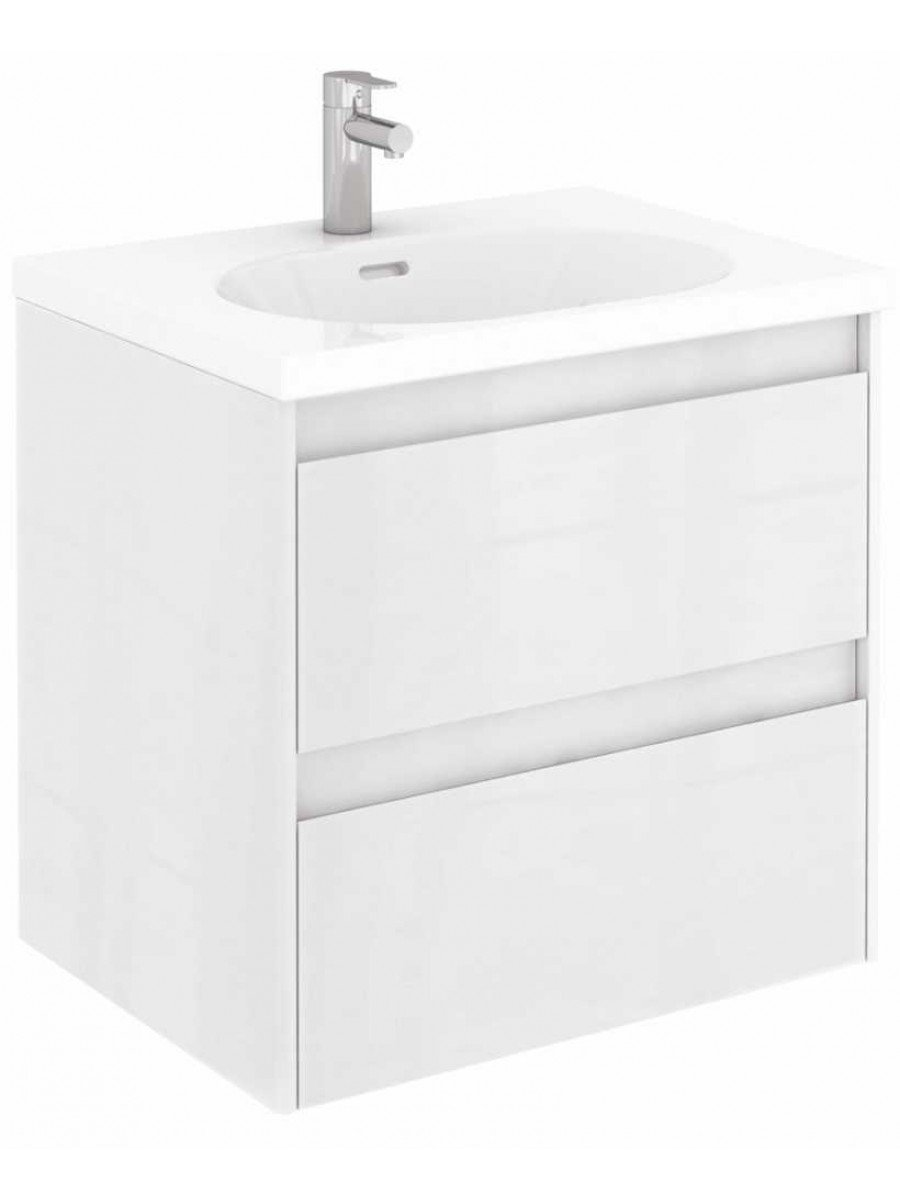 Vichy Gloss White 60 cm Wall Hung Vanity Unit and Aida Basin