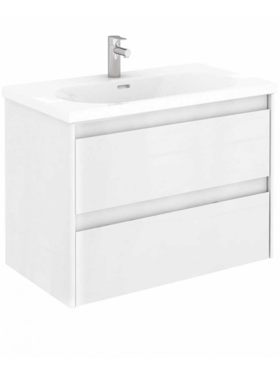 Vichy Gloss White 80 cm Wall Hung Vanity Unit and Aida Basin
