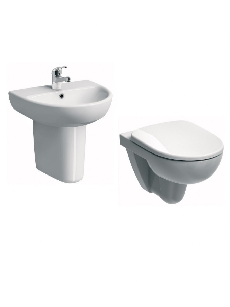 Twyford E100 Wall Hung Round Toilet and Wash Basin Set