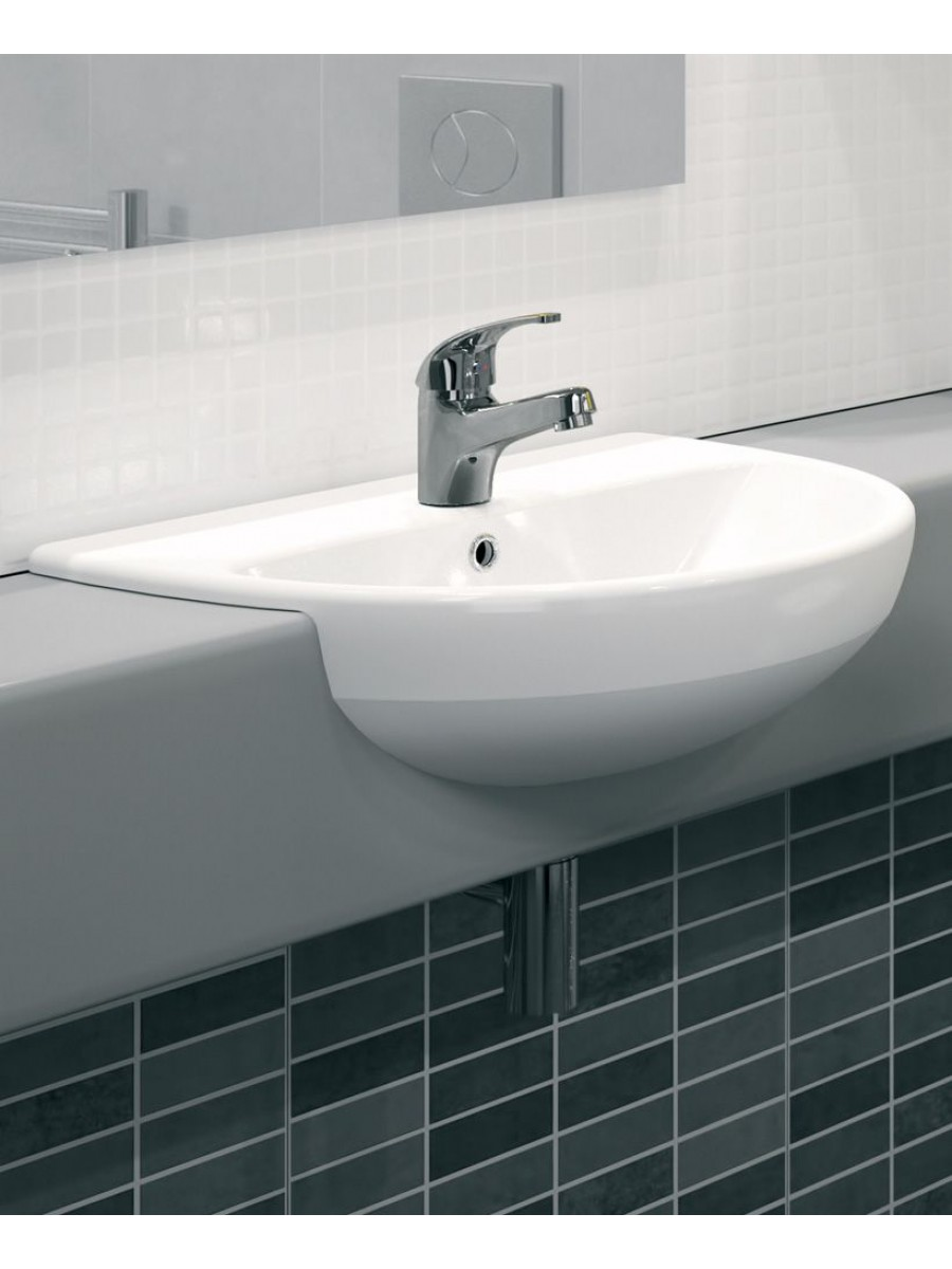 Twyford E100 Round 550 Semi recessed basin 1TH