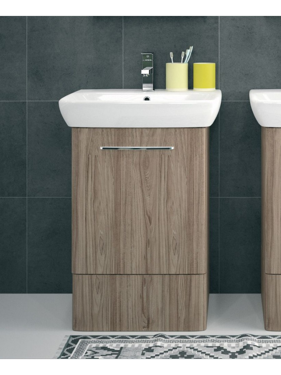 Floor standing vanity units twyford e100 600 grey ash for Floor standing bathroom furniture