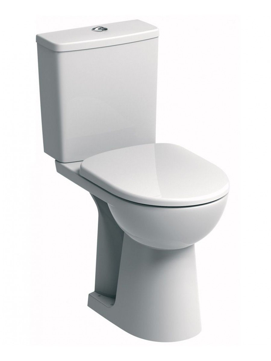Twyford E100 Square Close Coupled Comfort Height Toilet & Standard Seat