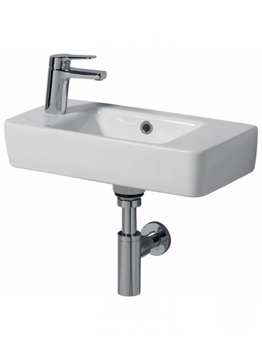 Twyford E200 500 Handrinse Basin - Left Hand Tap, Right Hand Bowl