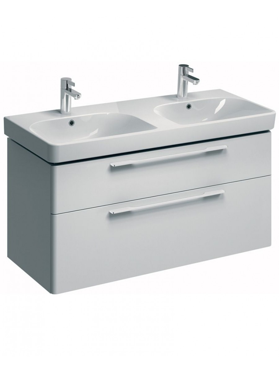 E  White Double Vanity Unit Wall Hung - Sink with vanity unit