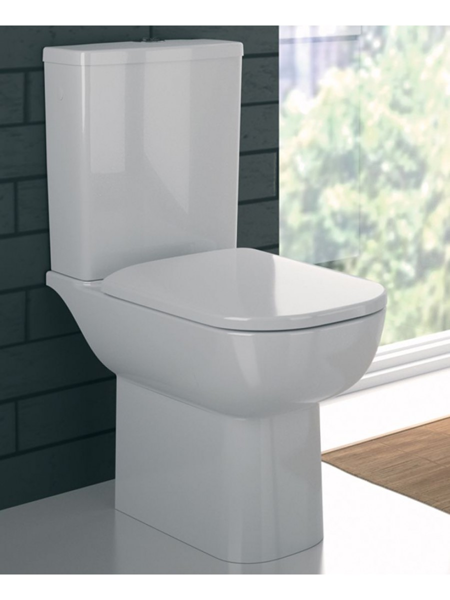 E500 Round RIMFREE Close Coupled Toilet Soft Close Seat