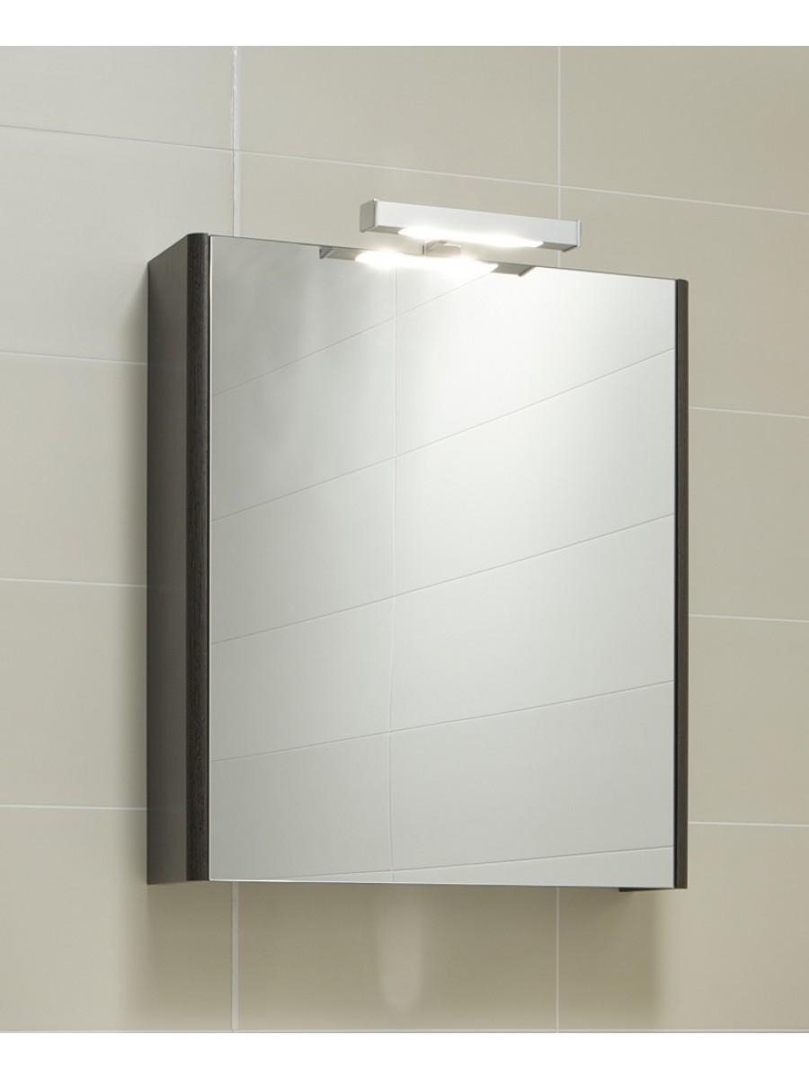 Elora 60 Mirror Cabinet & Light - Dark Wood