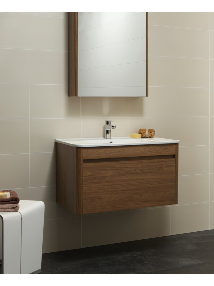Elora 80cm Walnut Vanity Unit and Basin