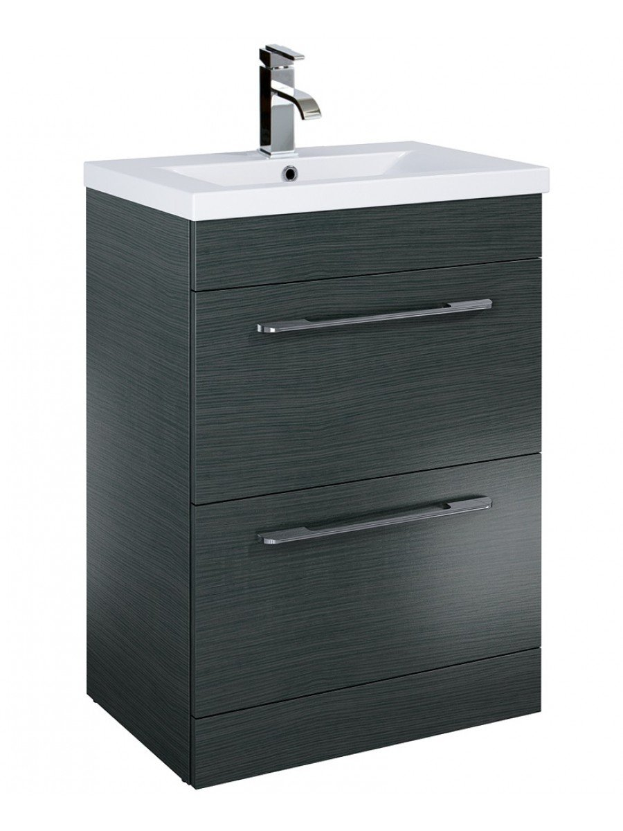 Carla 60cm Vanity Unit 2 Drawer Grey and Basin