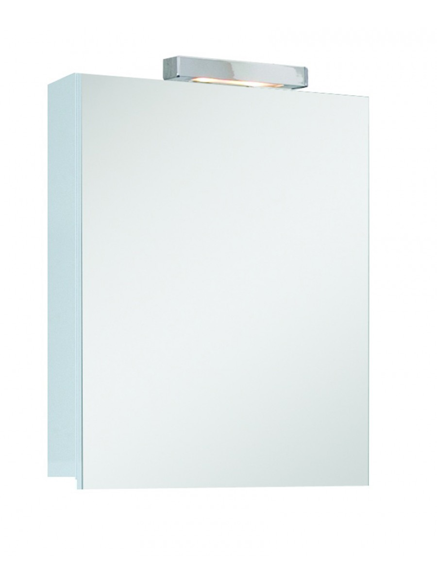 Hampstead 1 Door Mirror Cabinet 50cm White with Light Fitting