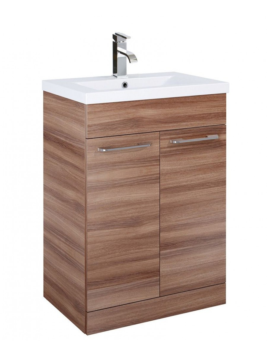 Paola 50cm Slimline Vanity Unit 2 Door Walnut and Basin