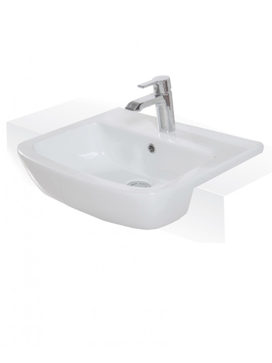 Monza 52cm Semi Recessed Washbasin 1TH