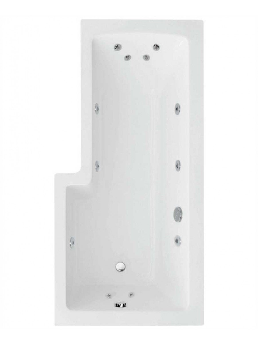 L Shaped 1700 x 850 shower bath Right hand 12 jet bath cw Panel & Bath screen
