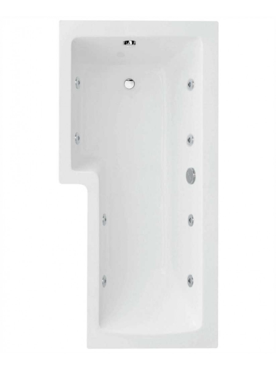 L Shaped 1700 x 850 shower bath Left hand 8 jet bath cw Panel & Bath screen