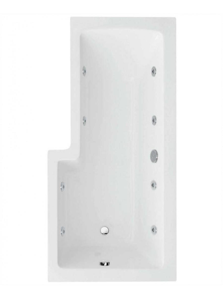 L Shaped 1700 x 850 shower bath Right hand 8 jet bath cw Panel & Bath screen