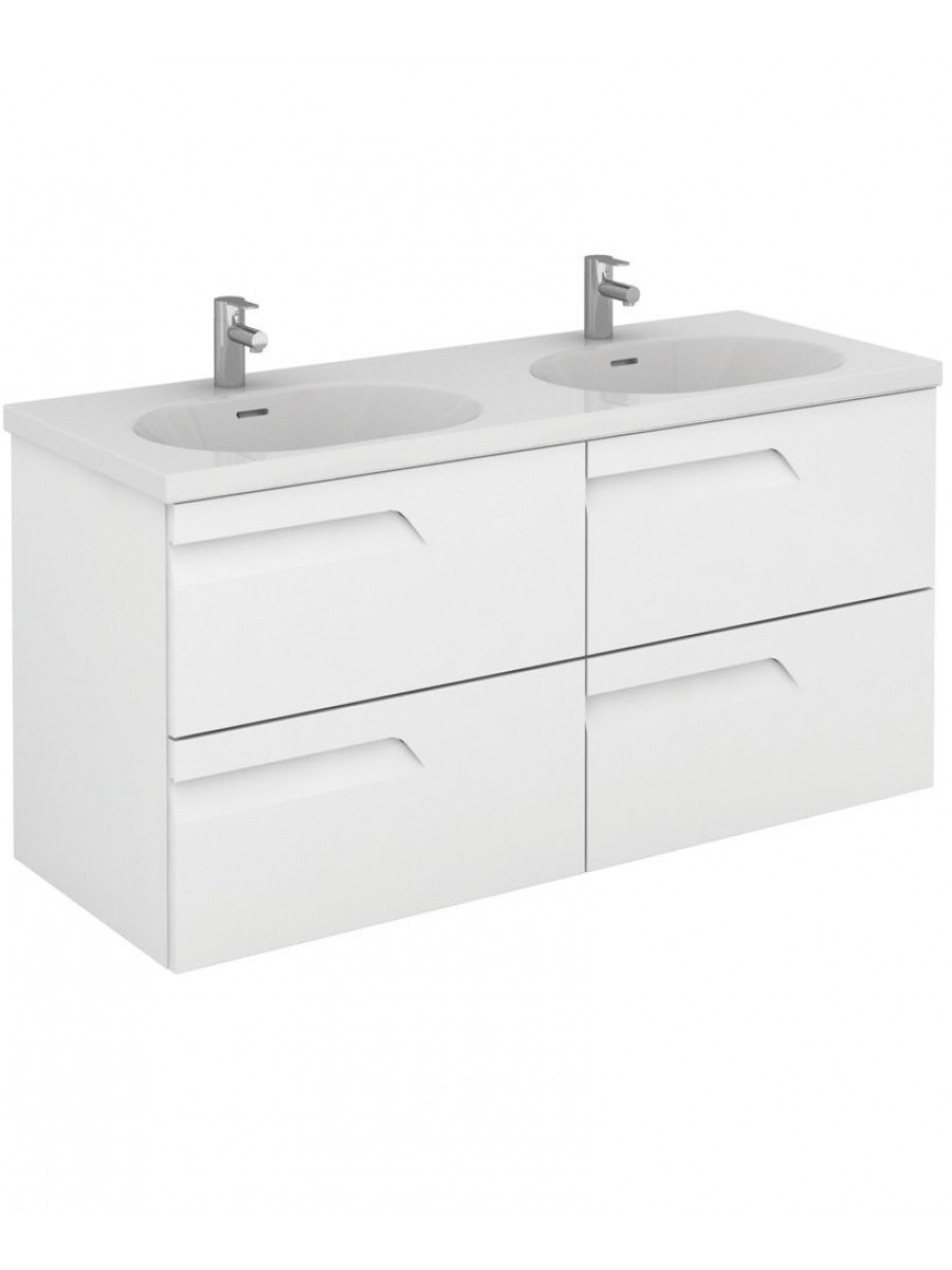 Pravia White 120 cm Wall Hung Double Vanity Unit and Aida Basins