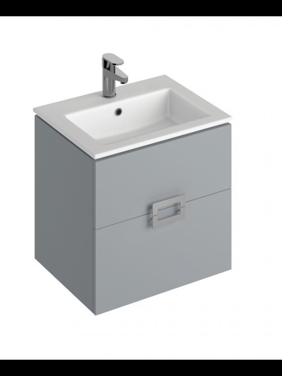 Ava Pearl Grey 55 cm Wall Hung Vanity Unit and Basin