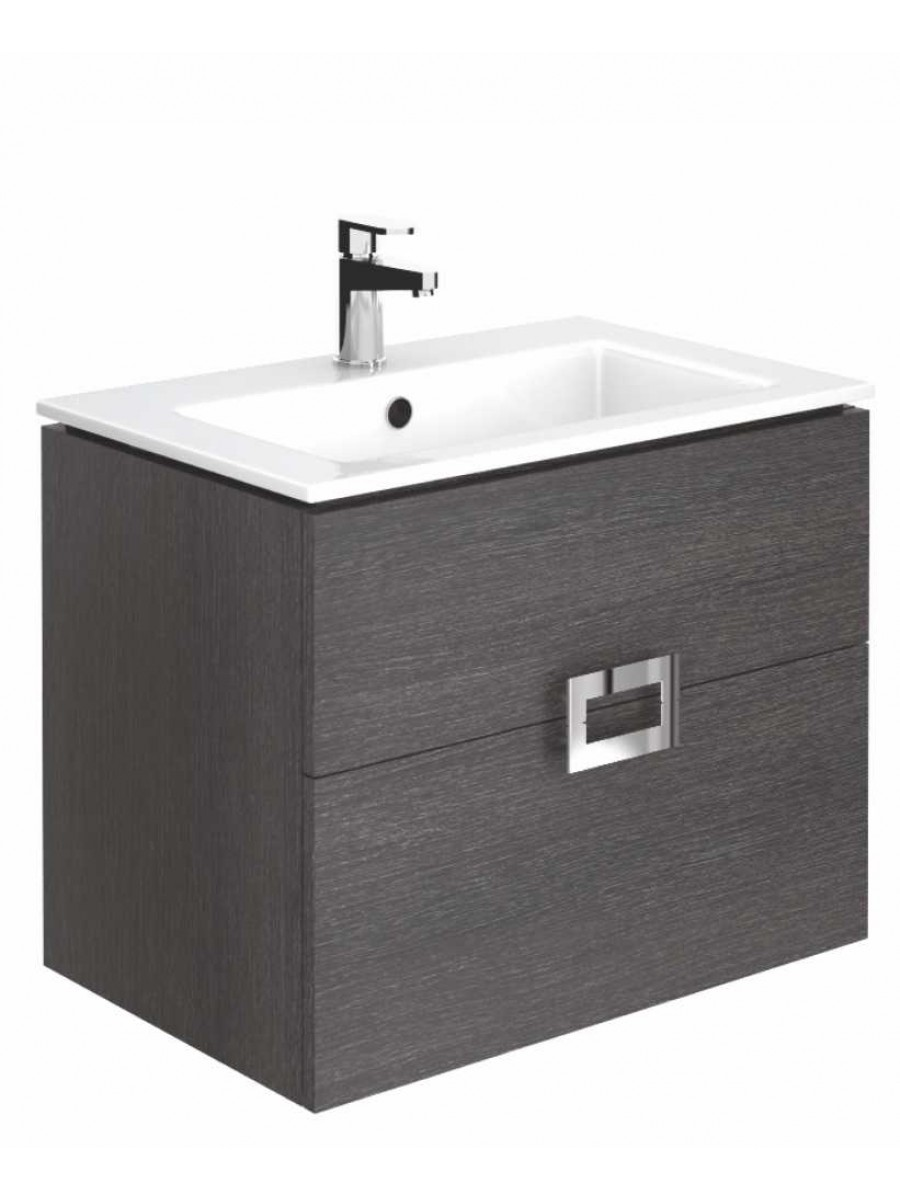 Ava Dark Wood 65 cm Wall Hung Vanity Unit and Basin