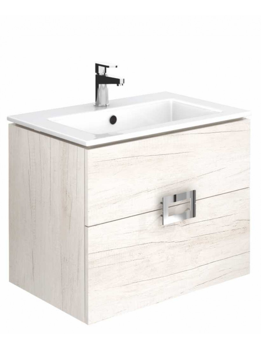 Ava Light Wood 65 cm Wall Hung Vanity Unit and Basin