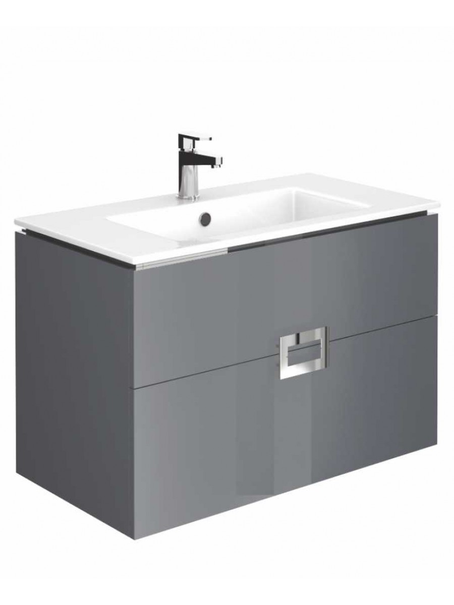 Ava Anthracite 80 cm Wall Hung Vanity Unit and Basin