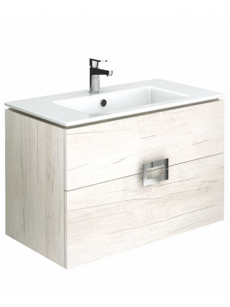 Ava Light Wood 80 cm Wall Hung Vanity Unit and Basin ** Further Reductions**