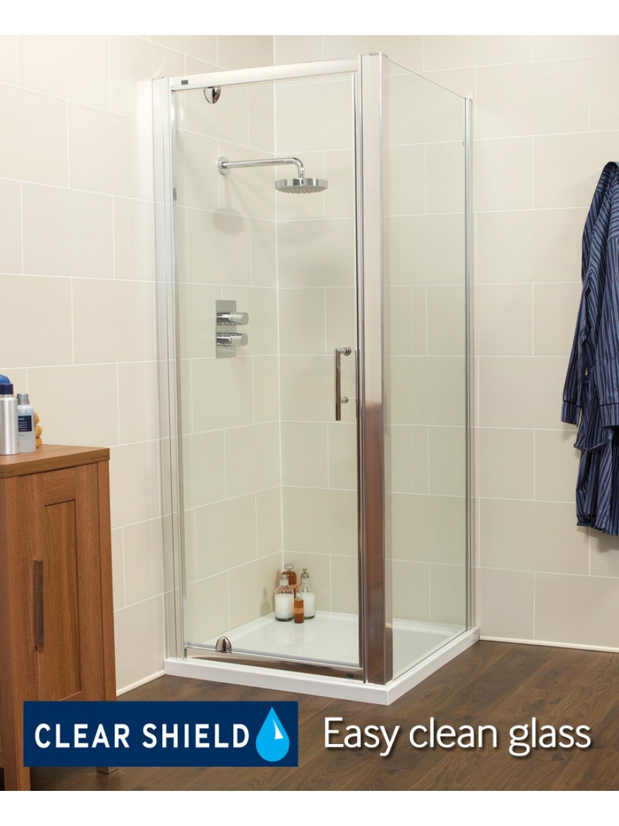 Kyra Range 760/800 x 760mm Pivot Shower Door - Adjustment with side panel 745 - 800mm