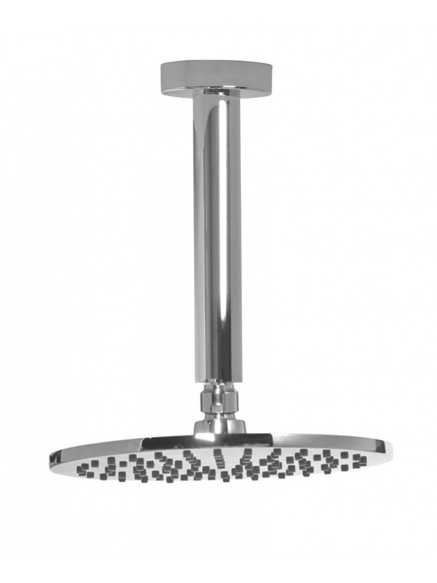 Lenan Round 200 Shower Head & 200 Ceiling Shower Arm - All Chrome