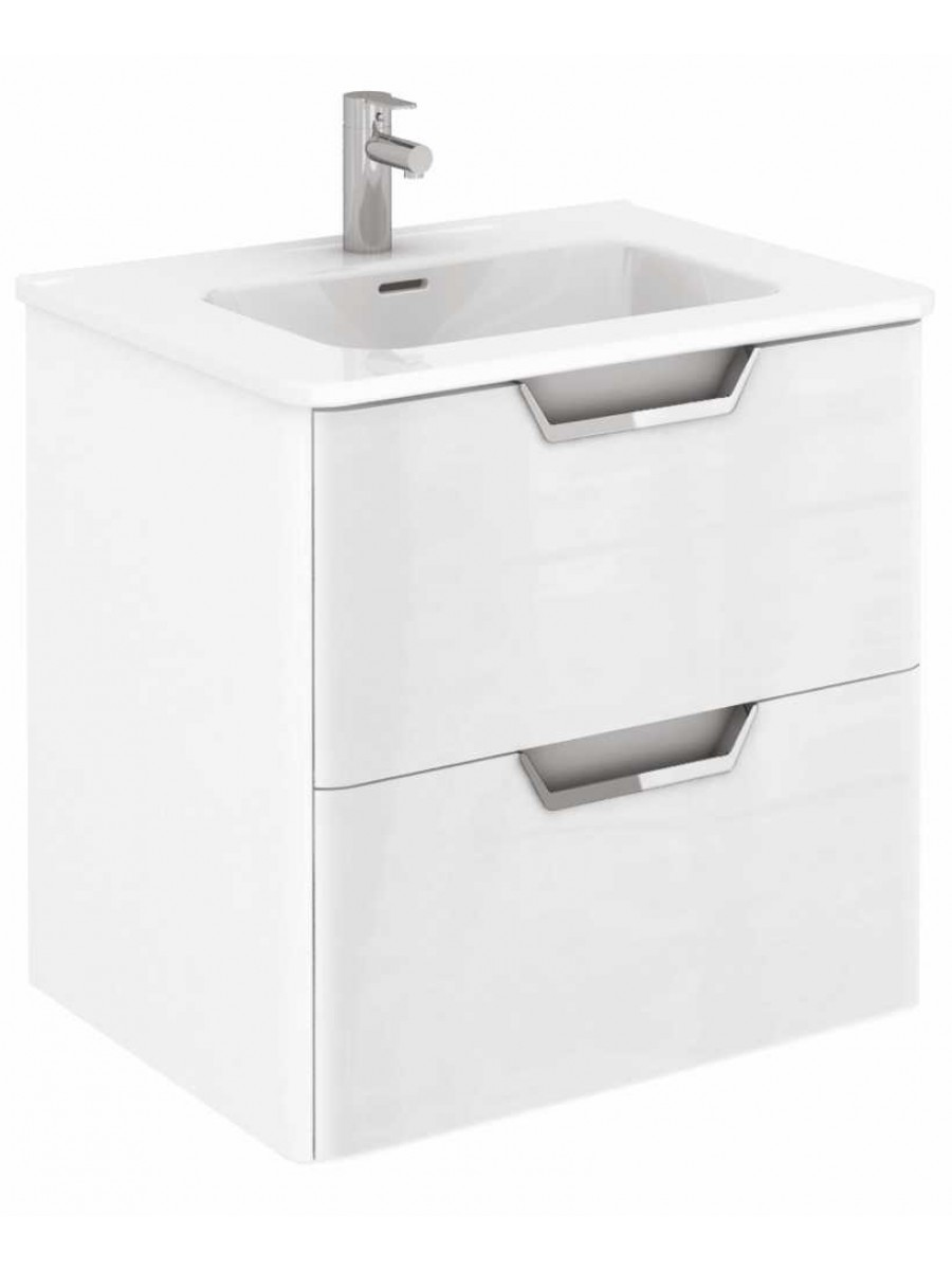 Metz Gloss White 60 cm Wall Hung Vanity Unit and Basin