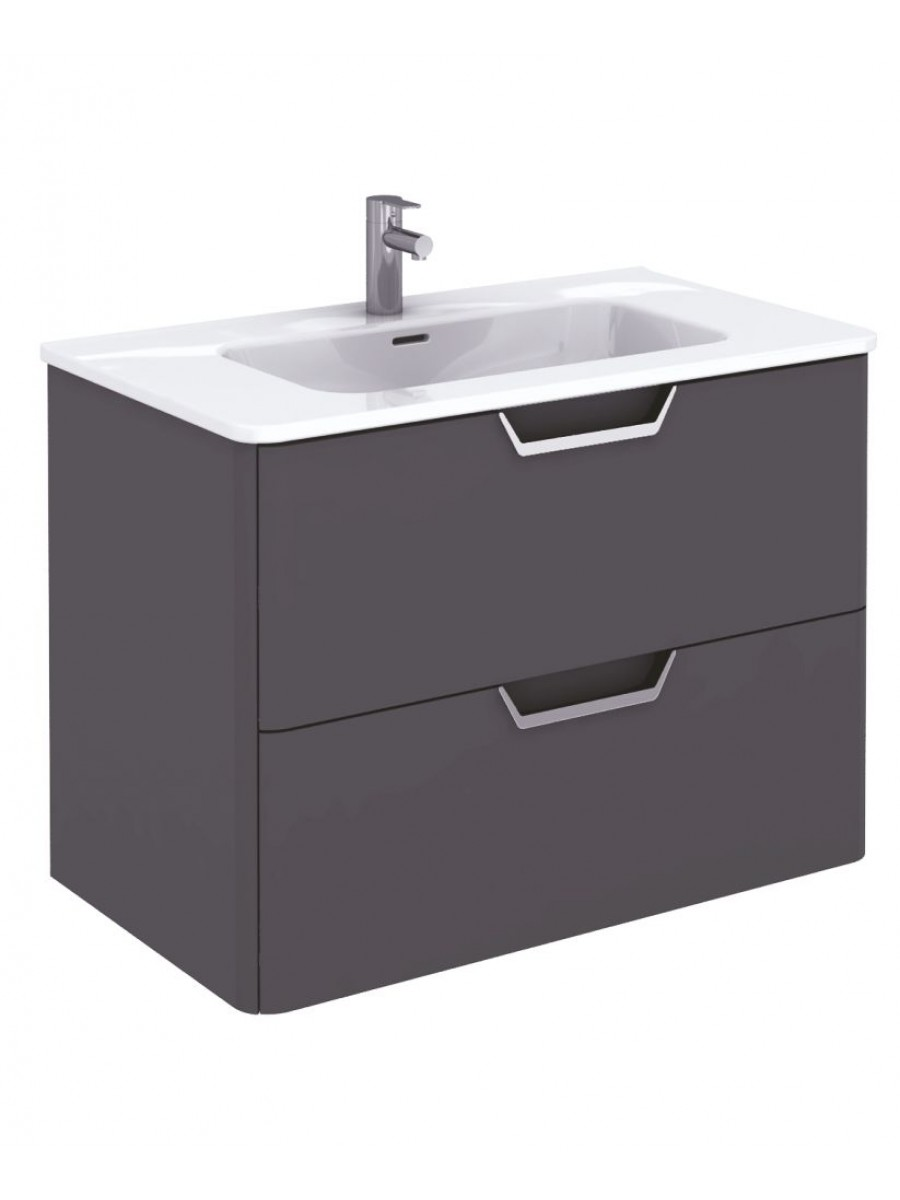 Metz Anthracite 80 cm Wall Hung Vanity Unit and Basin