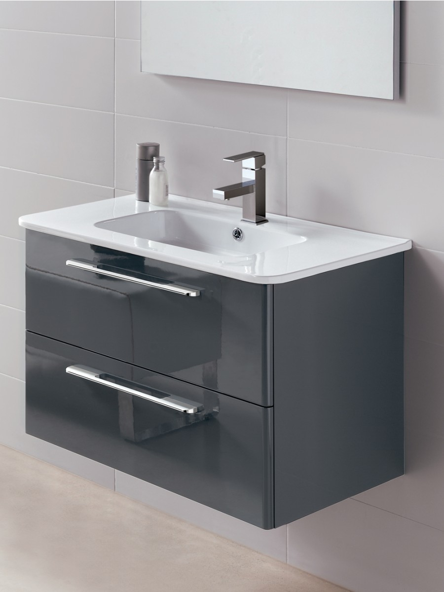 Ramia Gloss Grey 80cm Vanity Unit 2 Drawer and Basin