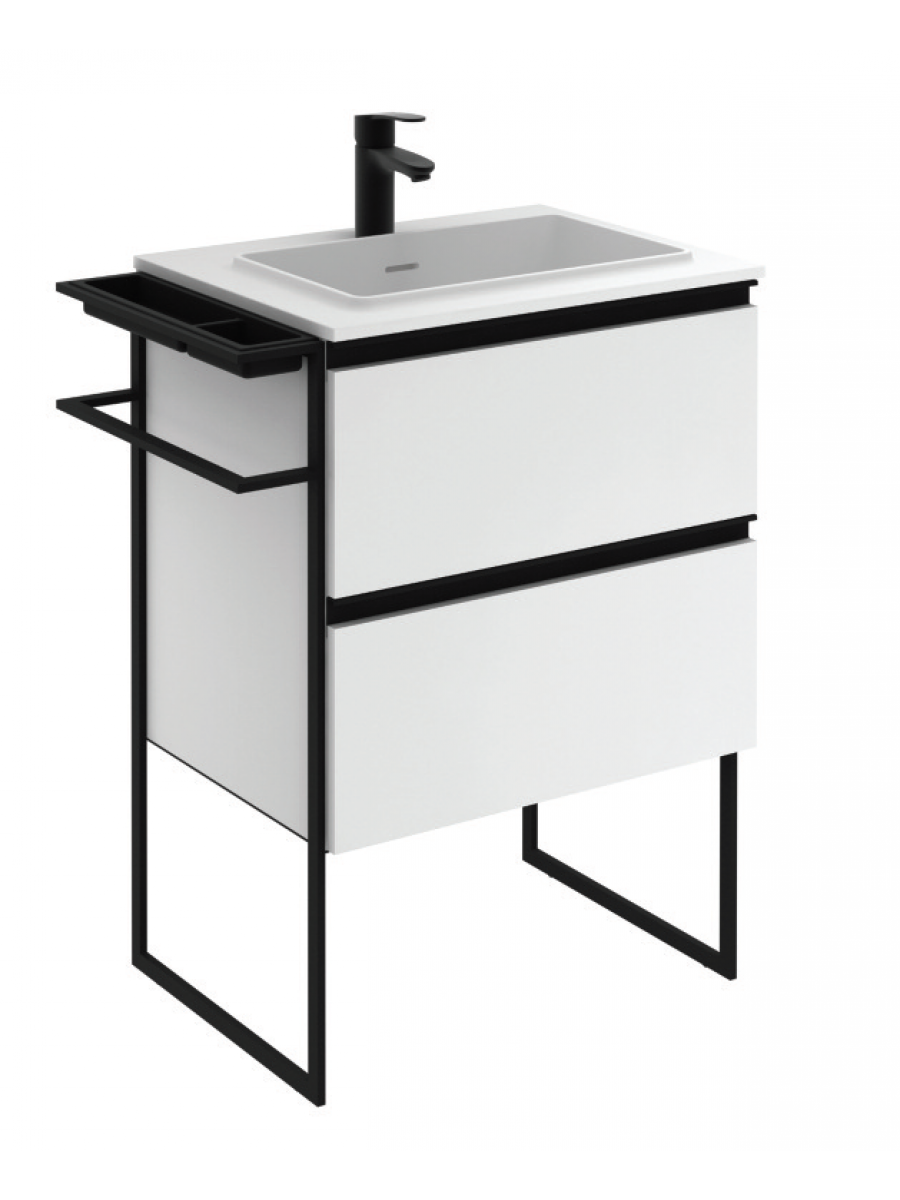 Essence 60cm Unit Matt White with Moon Basin and 100mm Shelf  - ** 60% Off