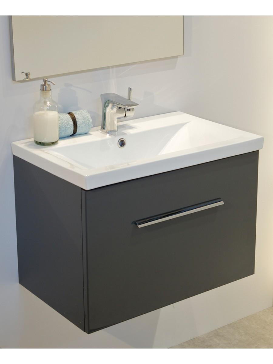 Vanore Antracite Slimline 50cm Wall Hung Vanity Unit