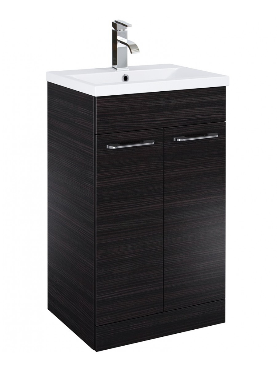 Paola 50cm Slimline Vanity Unit 2 Door Hacienda Black and Basin