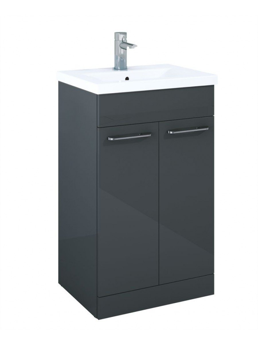 Paola 50cm Slimline Vanity Unit 2 Door Anthracite and Basin - ** 70% Off