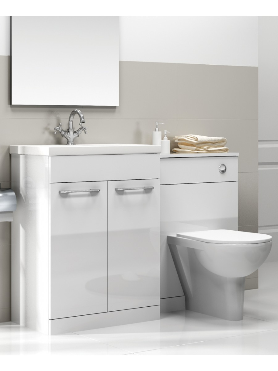 Paola White Slimline 60cm Combination Unit - 2 Door - 1215mm - with Toilet