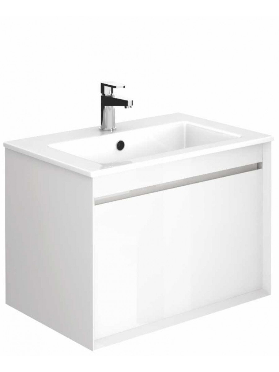 Regine Gloss White 65 cm Wall Hung Vanity Unit and Basin