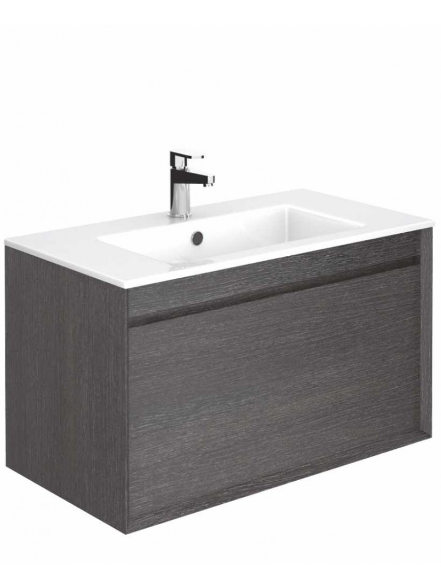 Regine Dark Wood 80 cm Wall Hung Vanity Unit and Basin