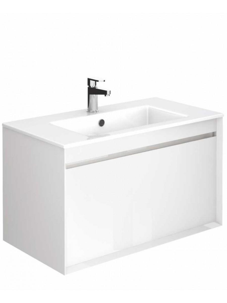 Regine Gloss White 80 cm Wall Hung Vanity Unit and Basin