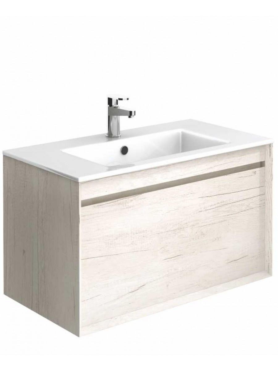 Regine Light Wood 80 cm Wall Hung Vanity Unit and Basin ** Further Reductions**