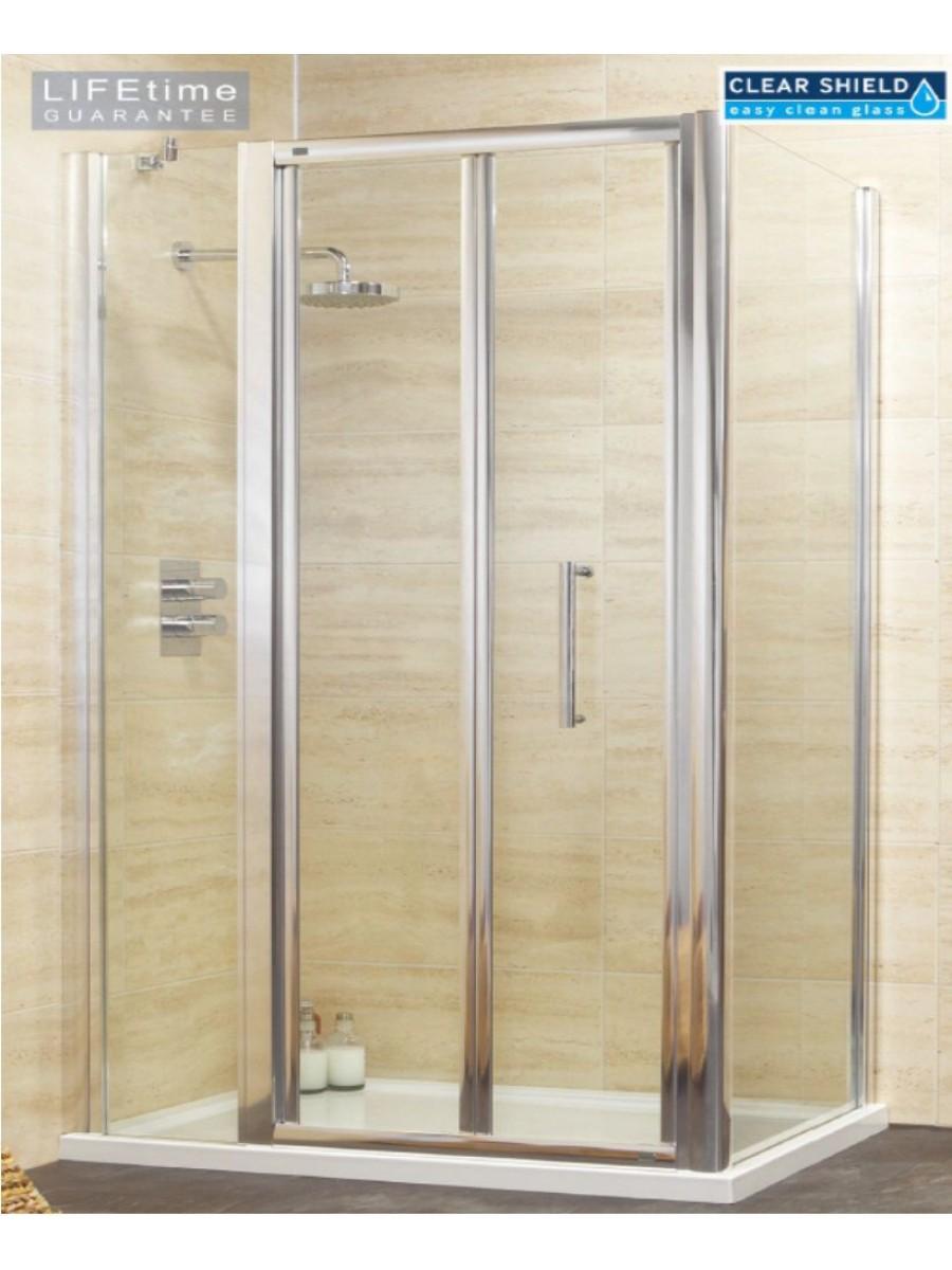 Rival 1000 bifold shower door with single infill panel for 1000 bifold shower door