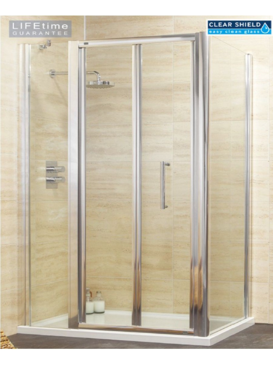 Rival 1200 Bifold Shower Door with Single Infill Panel & 700 mm Side Panel