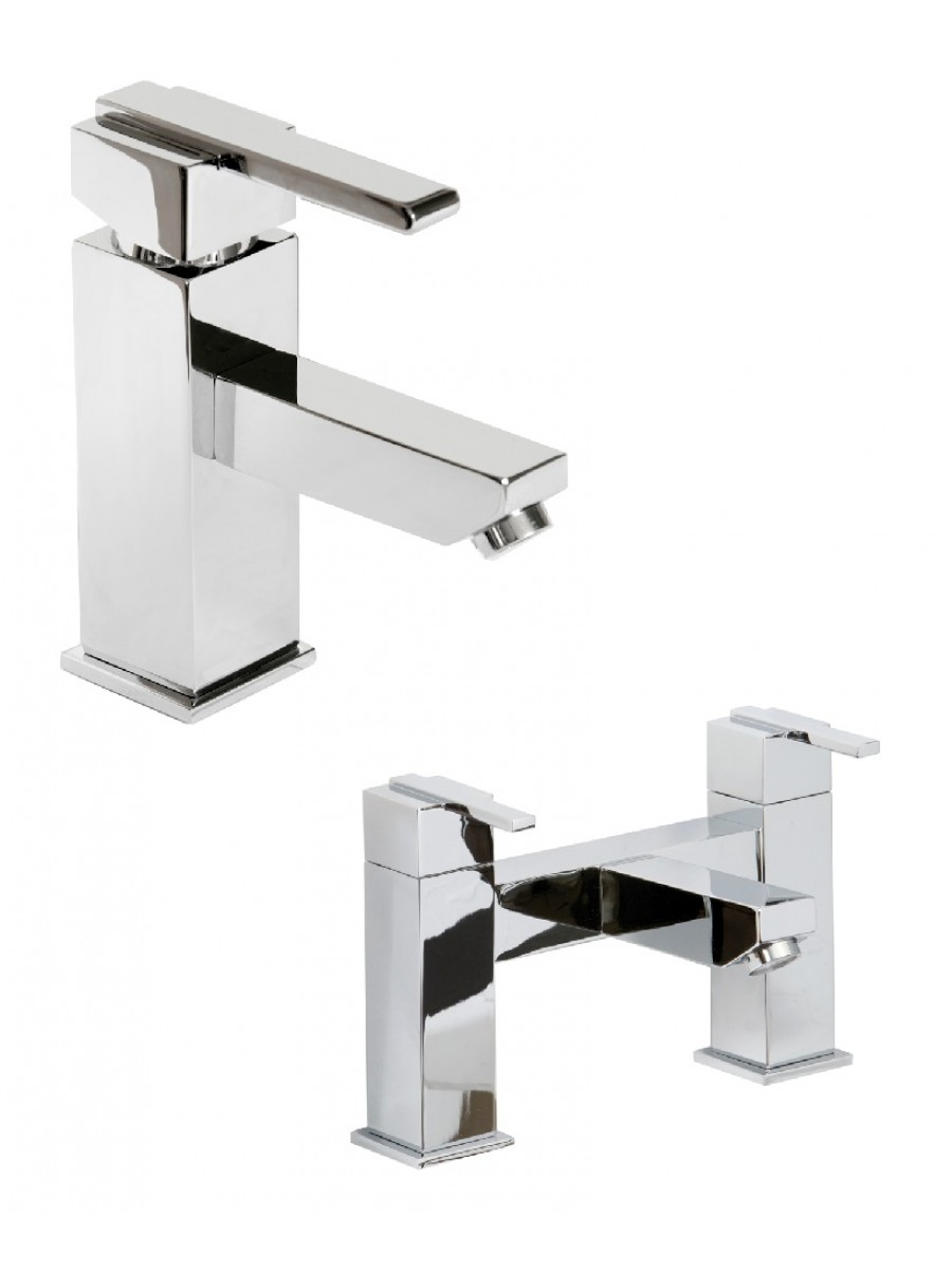Riley Basin Mixer and Bath Filler Set with FREE Click Clack Basin Waste