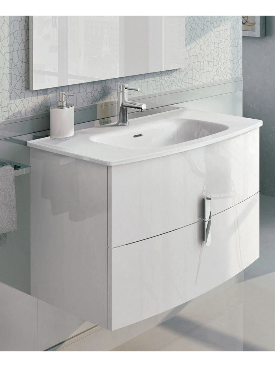 Contura White 80cm Vanity Unit 2 Drawer