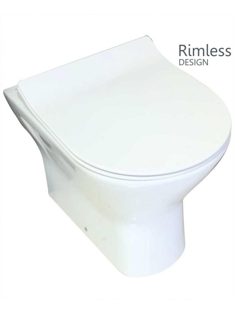 RAK Resort Back To Wall Rimless Pan & SLIM Soft Close Seat